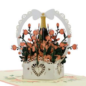 Greeting flower basket popup card